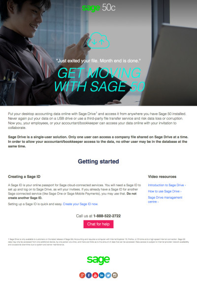 Sage 50c Launch Landing Pages - Cloud Data