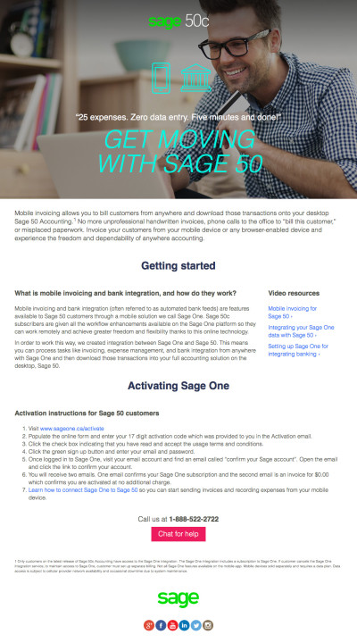 Sage 50c Launch Landing Pages - Mobile Invoicing & Bank Integration