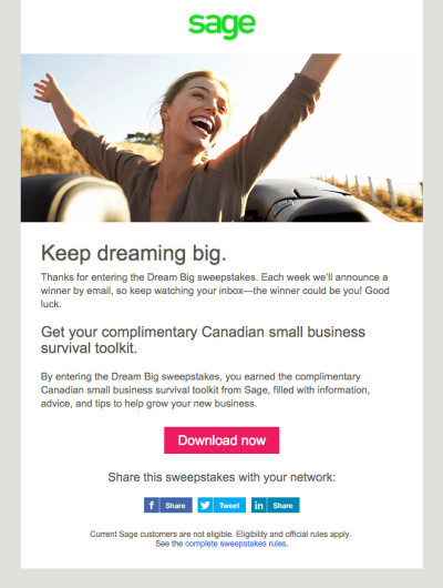 Sage Small Business Quarterly Contest Email - Q1