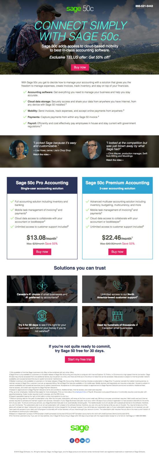 Sage 50 Canada Telus Partnership Landing Page