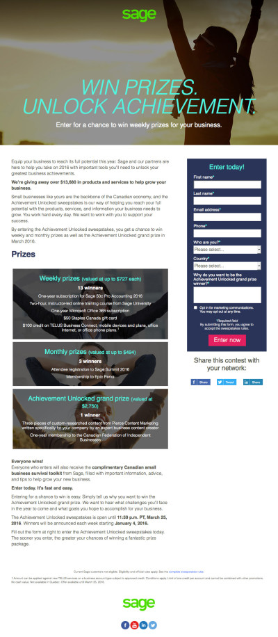 Sage Small Business Quarterly Contest Landing Page - Q2