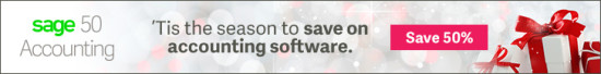 Sage50 Canada Holiday Offer Display Ad 728x90 EN