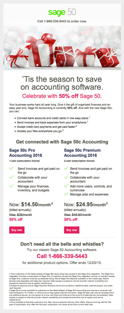 Sage 50 Canada - Holiday Promo Email
