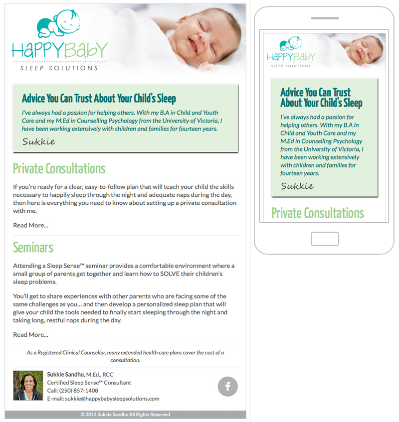 HappyBaby Sleep Solutions MailChimp Template - No Quote