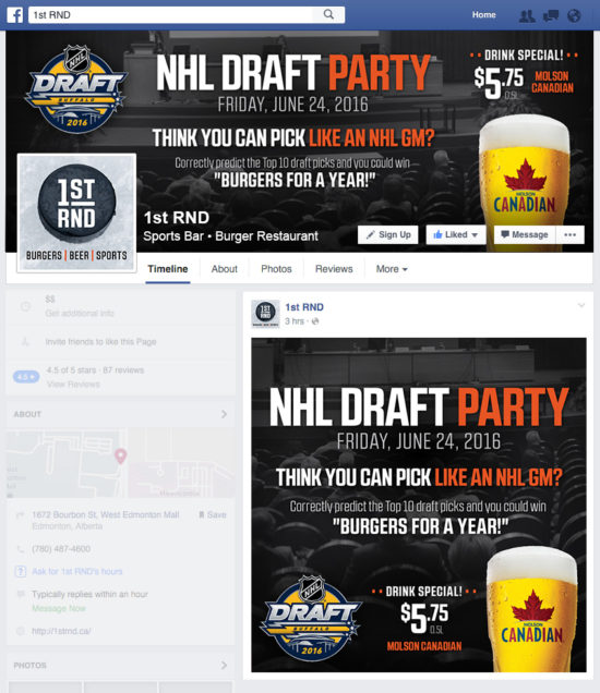 1st RND NHL Draft Party 2016 Facebook Graphics