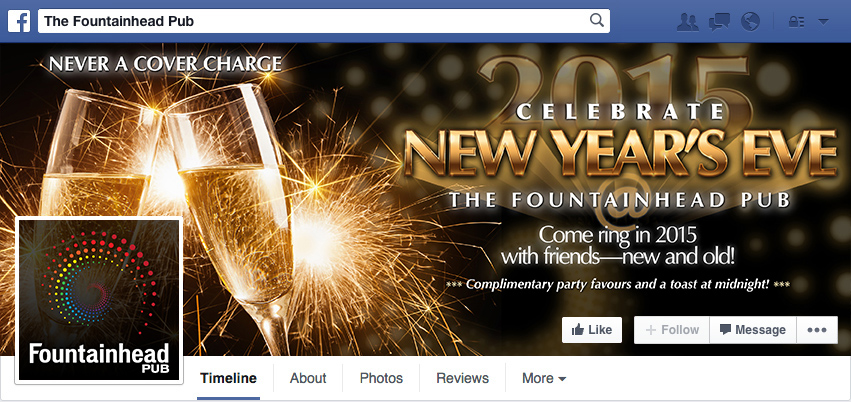 New Year's Eve @ The Fountainhead Pub - Facebook Profile Cover Photo