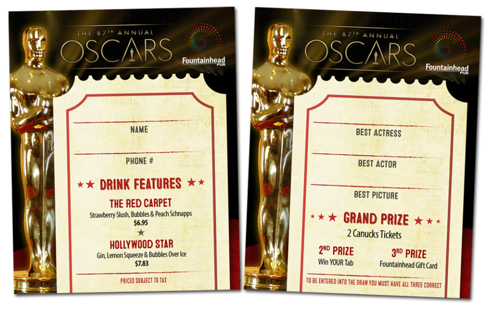 Oscars Party Prize Giveaway Entry Form