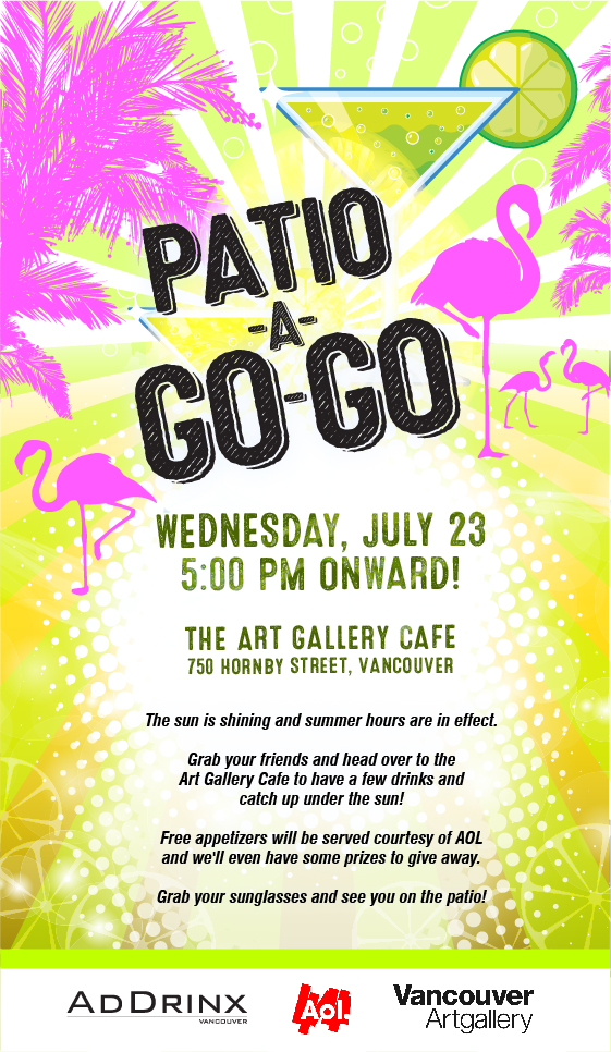 AdDrinx Patio-A-Go-Go MailChimp e-Blast flyer