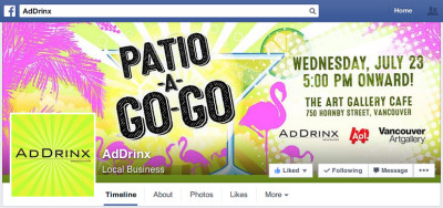 Patio-a-go-go Themed - AdDrinx Facebook Profile Page