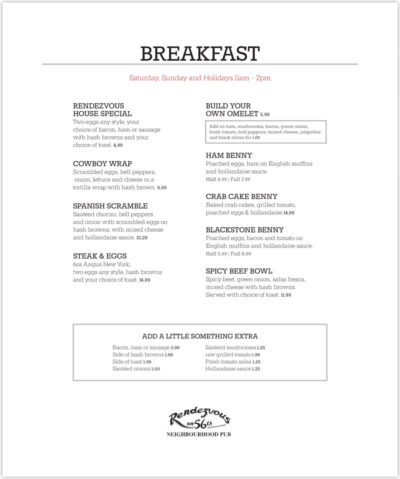 rendezvouspub breakfastmenu 0716 final rendezvous pub breakfast menu
