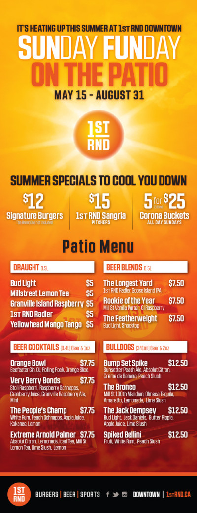 SUNday FUNday 2016 Feature Menu