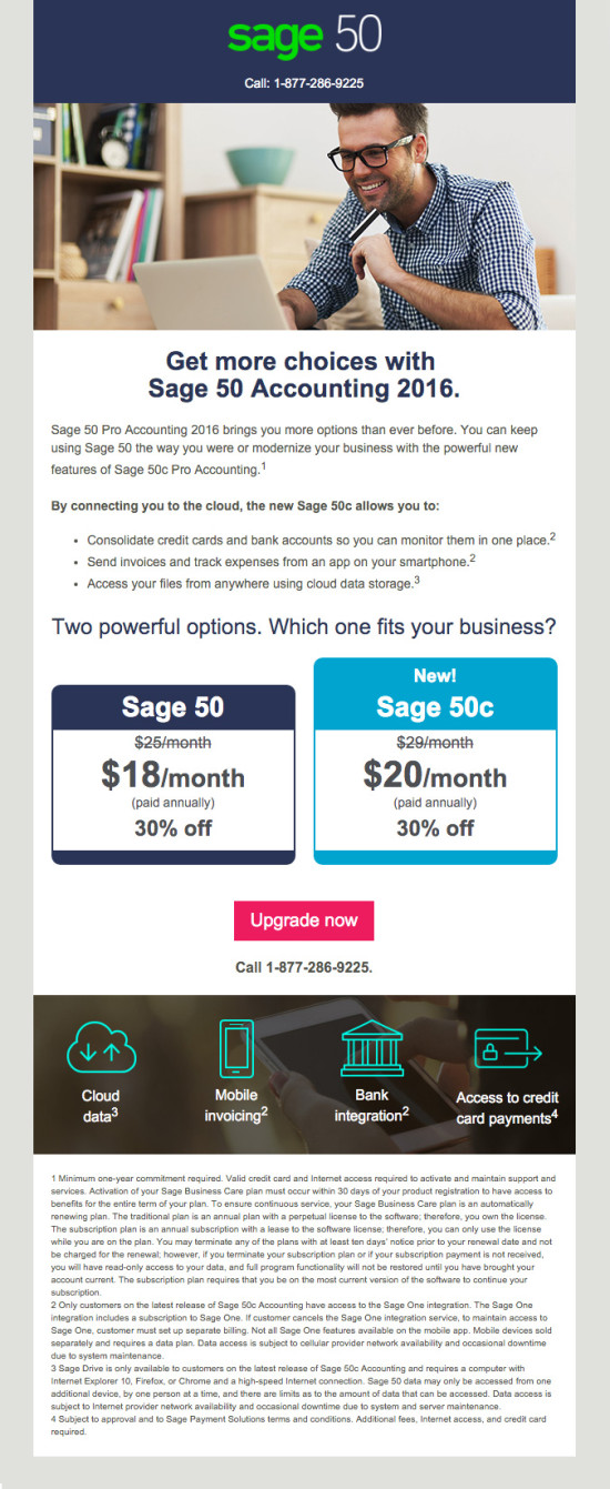 Sage 50c Upgrade Launch Promo Email 1