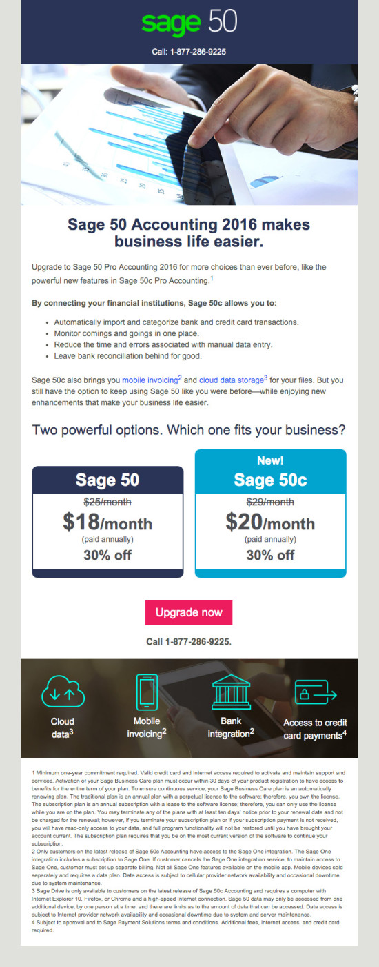 Sage 50c Upgrade Launch Promo Email 2