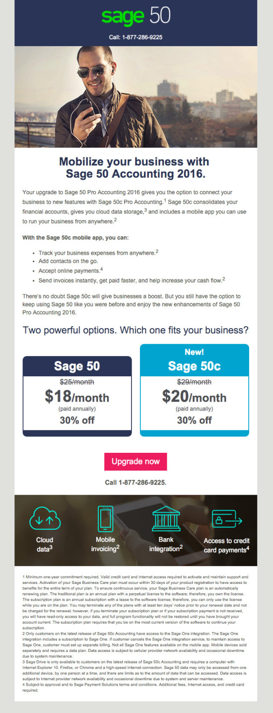 Sage 50c Upgrade Launch Promo Email 3
