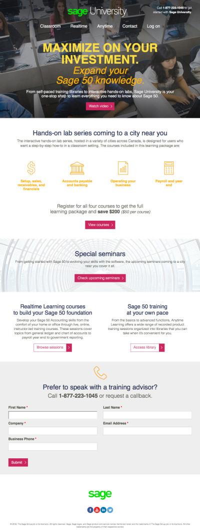 Sage 50 Canada Training Landing Page
