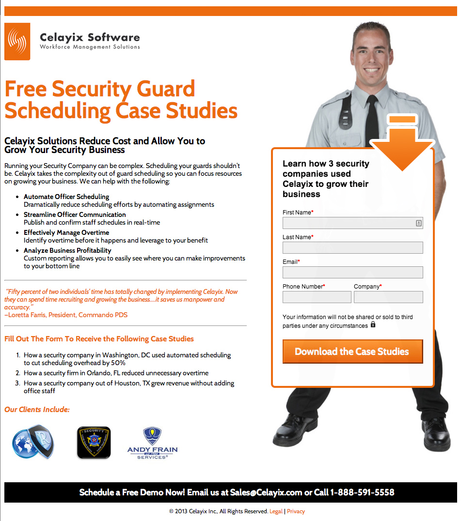 Celayix Landing Page - Security Guard