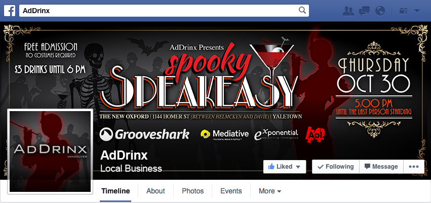 Spooky Speakeasy - AdDrinx Facebook Cover Photo