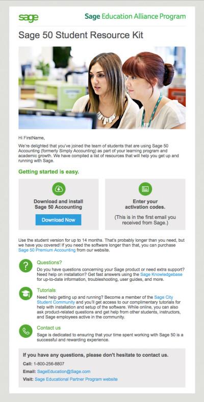 Sage 50 Student Nurture Email Campaign - Email 1