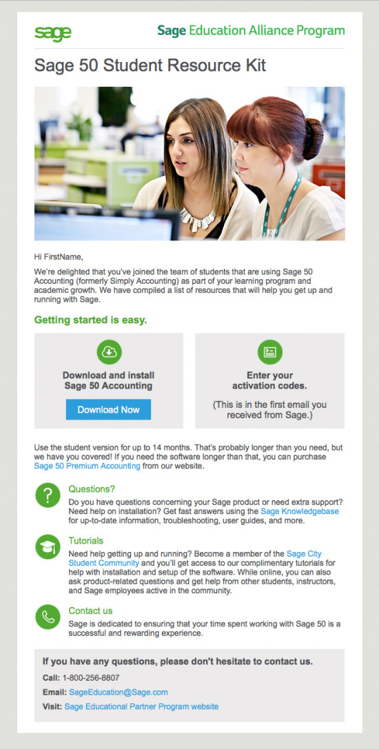 Sage 50 Student Nurture Email Campaign - Email 1