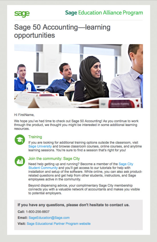 Sage 50 Student Nurture Email Campaign - Email 2
