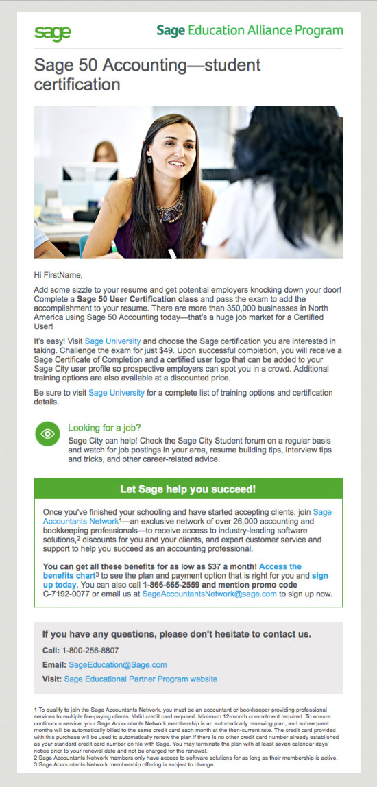 Sage 50 Student Nurture Email Campaign - Email 3
