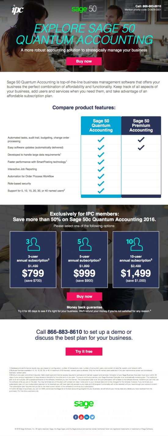 Sage 50 IPC Subway Landing Page - Quantum