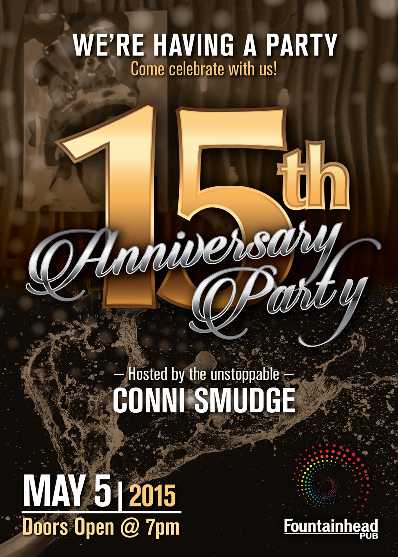 The Fountainhead Pub - 15th Anniversary Party Poster