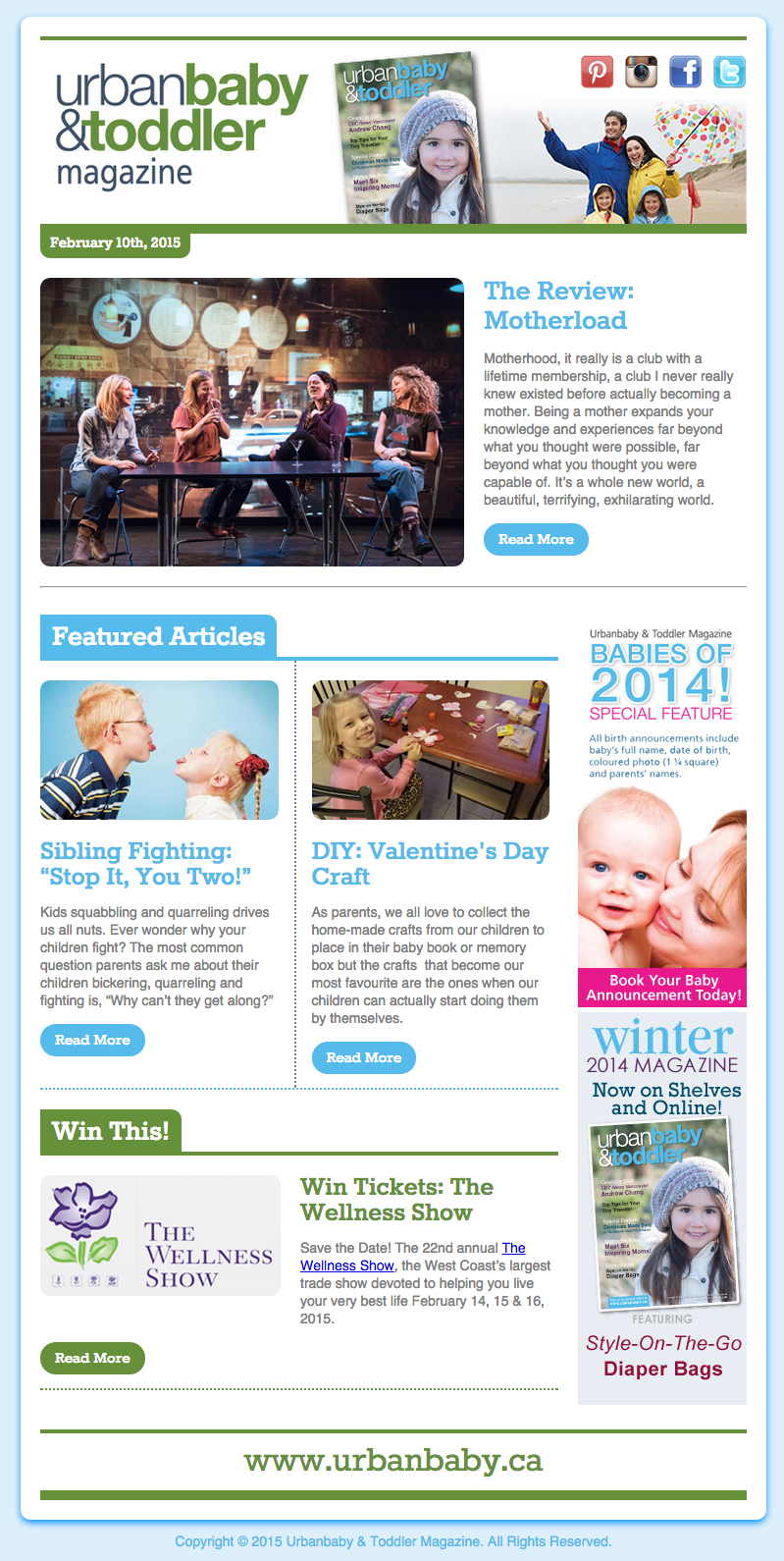 Urbanbaby & Toddler Magazine E-Newsletter